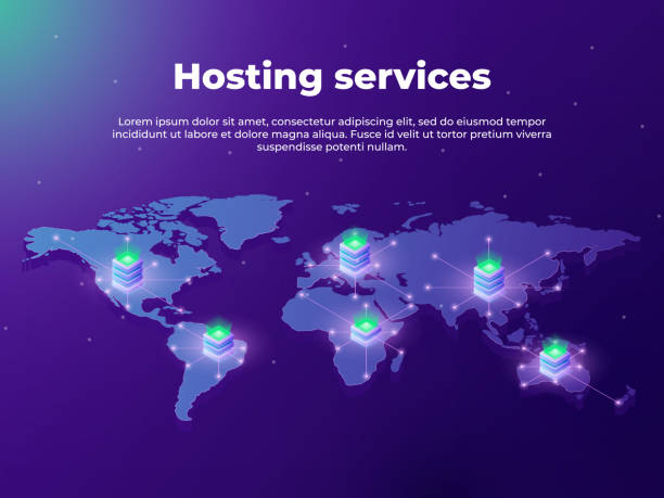 Computing services concept. Servers on the world map. Concept of big data processing, server room racks. vector art illustration