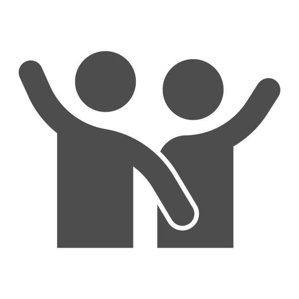 Comrades solid icon. Close two happy friends and best partners symbol, glyph style pictogram on white background. Relationship sign for mobile concept and web design. Vector graphics. Comrades solid icon. Close two happy friends and best partners symbol, glyph style pictogram on white background. Relationship sign for mobile concept and web design. Vector graphics business clipart stock illustrations