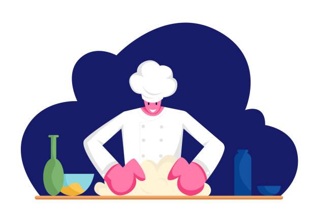 bildbanksillustrationer, clip art samt tecknat material och ikoner med koncentrerad man i uniform knådning deg på kitchen. professionell baker förbereda bröd, pizza eller pasta på bordet med produkter i bageri butik eller restaurang, cartoon flat vektor illustration - arbeta köksbord man