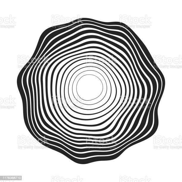 Concentric Black Wavy Lines That Makes A Rounded Abstract Organic Shape - Immagini vettoriali stock e altre immagini di Arte