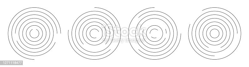Concentric circle geometric vector elements. Abstract round swirl line background for your design.
