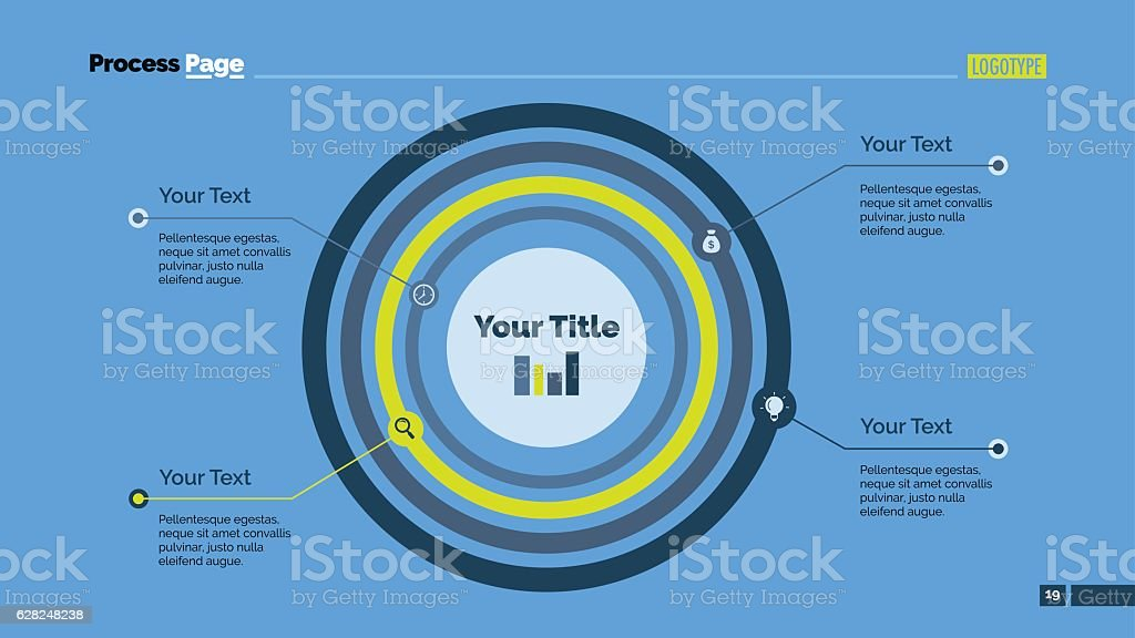 Concentric Circles Diagram Slide Template Stock Vector Art More