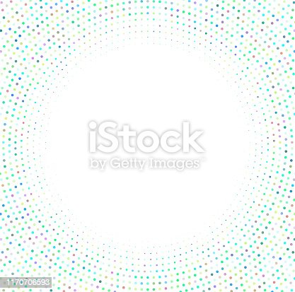 Dots in a concentric circle form a frame background