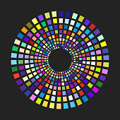 Concentric dashed circles. Rectangular geometric shapes with different colors on the round path. Vector background.