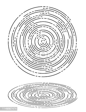 Vector Illustration of two elegant black and white Concentric Ripples Waves Circles, top view and perspective view.