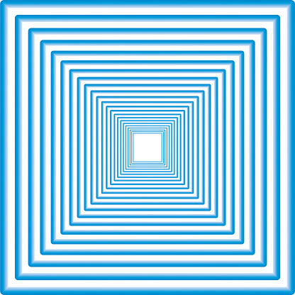 Concentric square in degraded blue