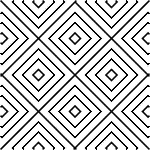Konzentrische Quadrate, schwarz und weiß, nahtlose Muster – Vektorgrafik