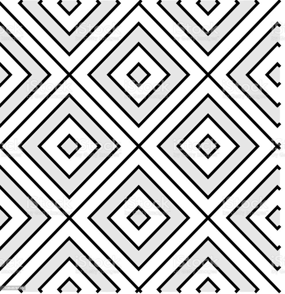 Konzentrische Quadrate, Monochrom, nahtlose Muster – Vektorgrafik