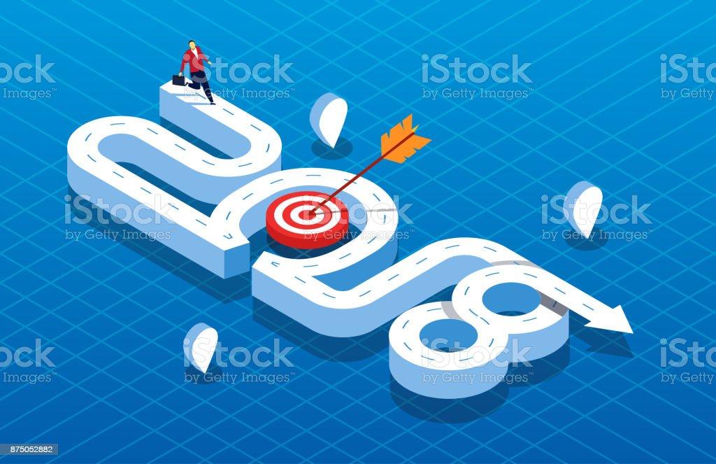 Concept 2018 business target vector art illustration