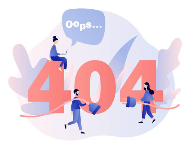 Concept 404 Error Page. Flat cartoon style. Vector illustration Concept 404 Error Page. Flat cartoon style. Vector illustration mistake stock illustrations