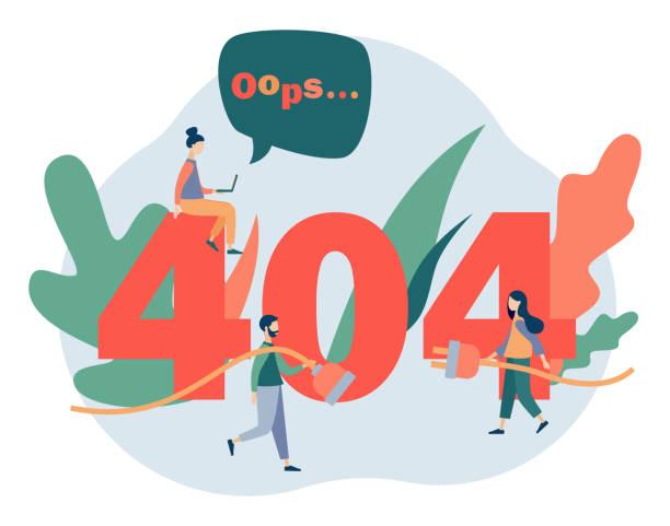 Concept 404 Error Page. Flat cartoon style. Vector illustration Concept 404 Error Page. Flat cartoon style. Vector illustration detach stock illustrations
