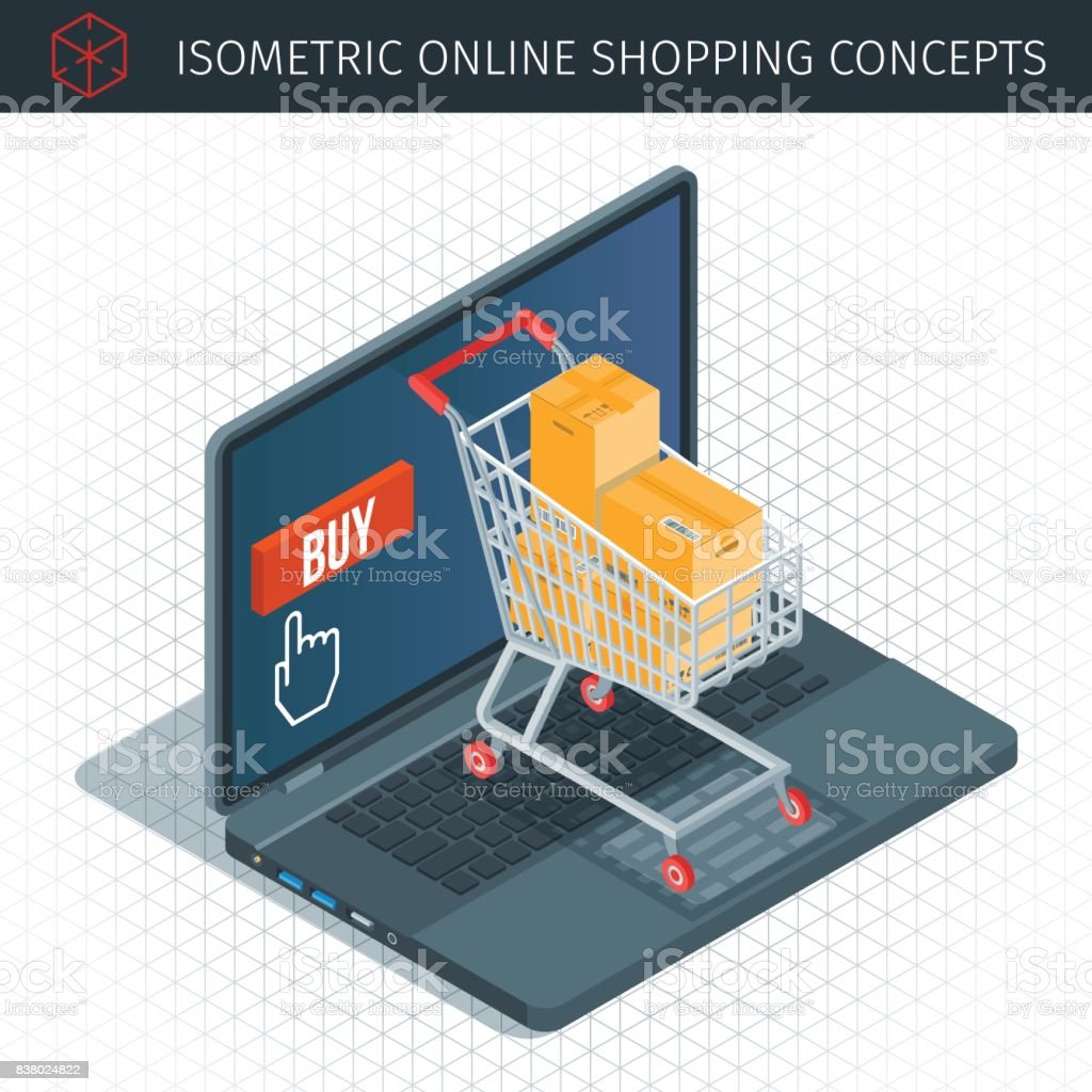 Concept about online shopping vector art illustration