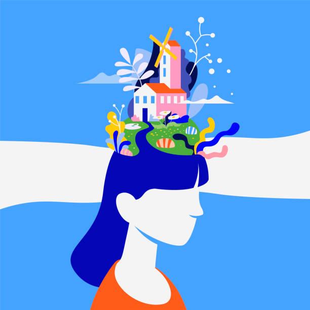 illustrazioni stock, clip art, cartoni animati e icone di tendenza di concept about the processes of thinking of women. creating ideas in the head, creative profession. mechanism of the brain, thinking worker. - donna si nasconde