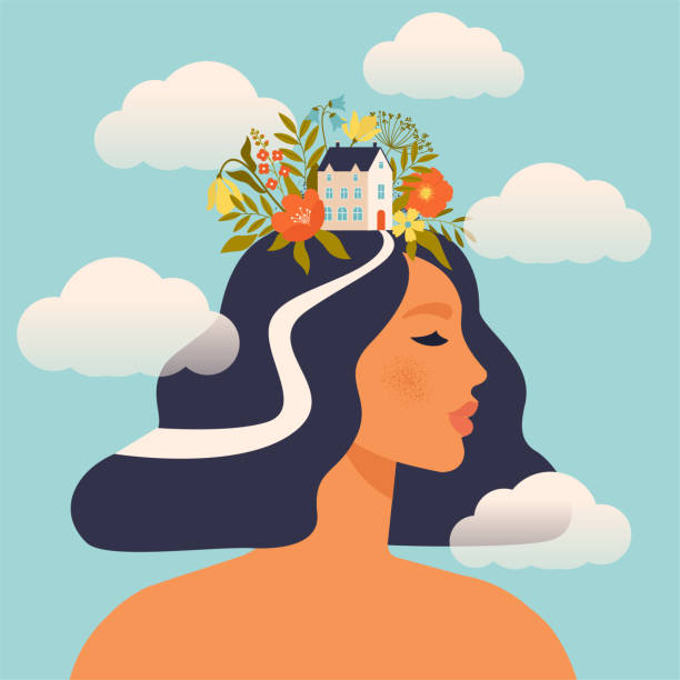 Concept about the processes of thinking of women. Creating ideas in the head, creative profession. Creative fantasy thinking vector illustration. Mechanism of the brain, thinking worker. Woman world. vector art illustration