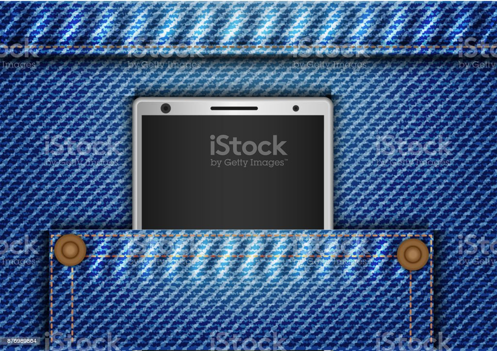 Concept and idea mobile phone in denim pants bag. Abstract denim pattern background. Vector EPS10 vector art illustration