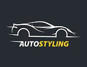 Concept auto styling car logo with supercar sports vehicle silhouette.