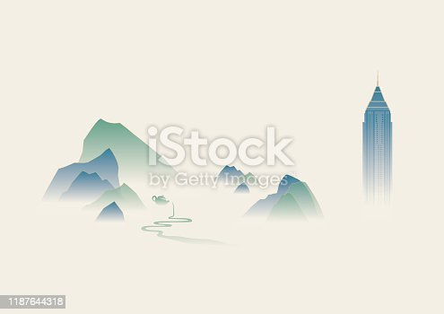 concept background of ink painting mountain East Asian traditional style