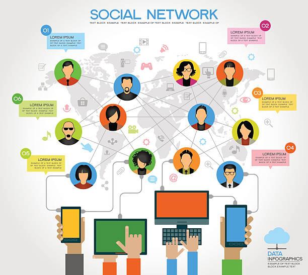 コンセプトの背景の人々の社会的なネットワーク - 人口統計のインフォグラフィック点のイラスト素材/クリップアート素材/マンガ素材/アイコン素材