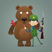 Concept bear holds frightened hunter