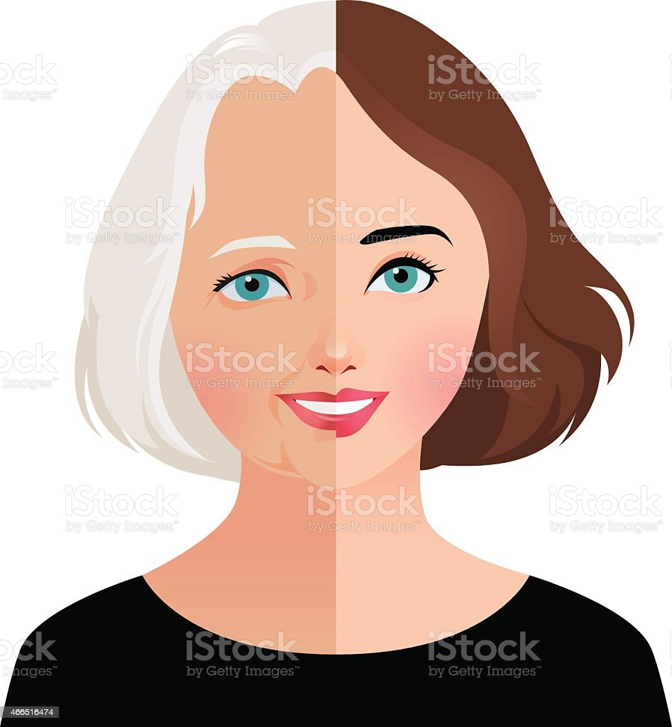 Concept beauty and rejuvenation of skin aging vector art illustration