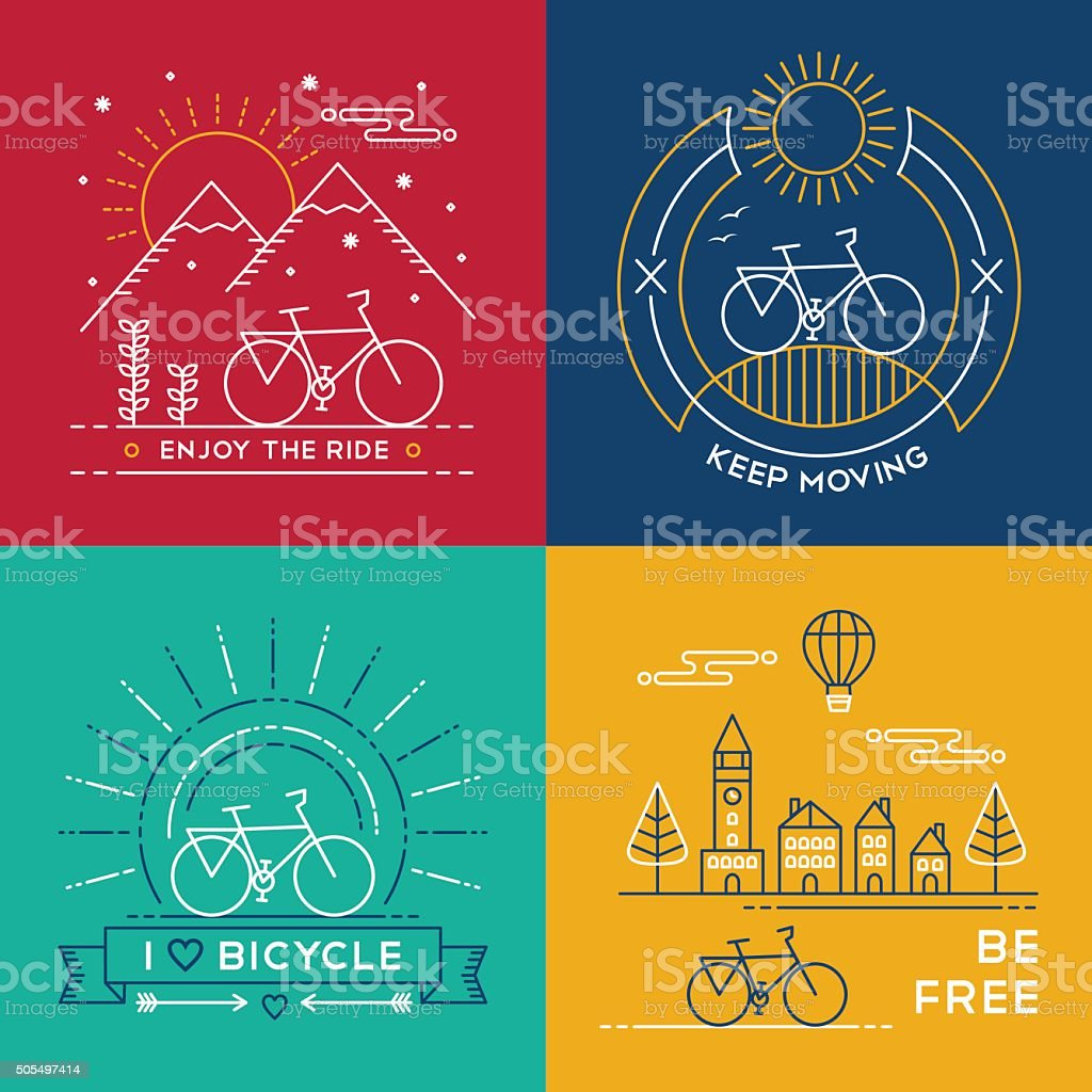 Line Art Posters : Concept bike line art bicycle set poster nature stock