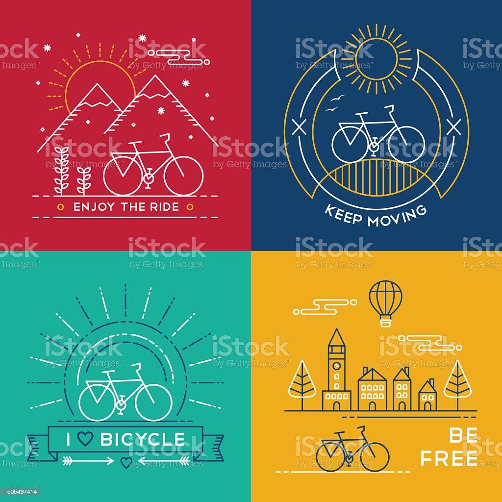 Linha conceito de bicicleta-bicicleta de arte conjunto cartaz natureza - ilustração de arte em vetor