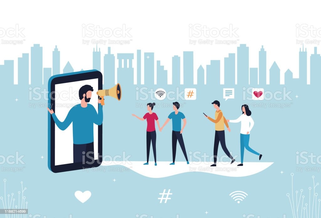 Concept blogger influencer marketing referral. A man with a hand-held megaphone from a smartphone attracts subscribers, buyers to promote new services and goods. Flat vector stock illustration. - Grafika wektorowa royalty-free (Biznes)
