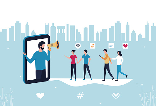 Concept blogger influencer marketing referral. A man with a hand-held megaphone from a smartphone attracts subscribers, buyers to promote new services and goods. Flat vector stock illustration.