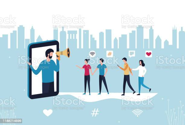 Concept Blogger Influencer Marketing Referral A Man With A Handheld Megaphone From A Smartphone Attracts Subscribers Buyers To Promote New Services And Goods Flat Vector Stock Illustration - Stockowe grafiki wektorowe i więcej obrazów Biznes