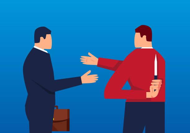 konzept-unternehmenskooperation und verschwörung - vertrauensbruch stock-grafiken, -clipart, -cartoons und -symbole