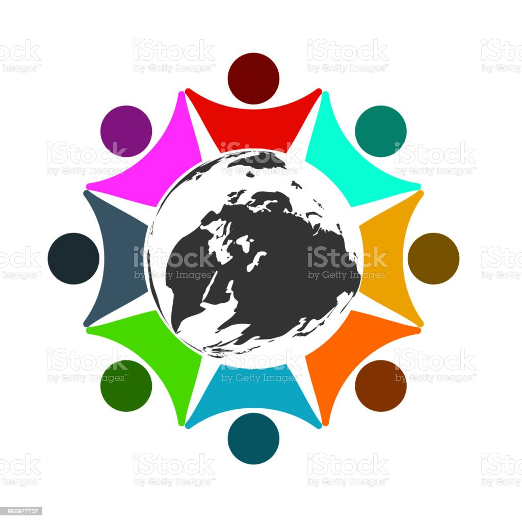 Concept Business Group connection logo,Eight people in the circle...