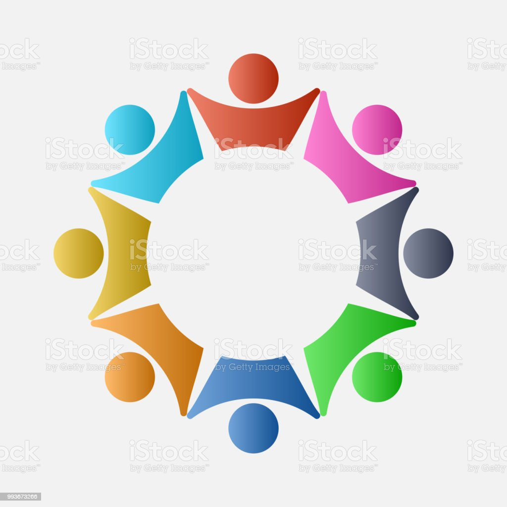 Concept Business Group connection logo,Eight people in the...