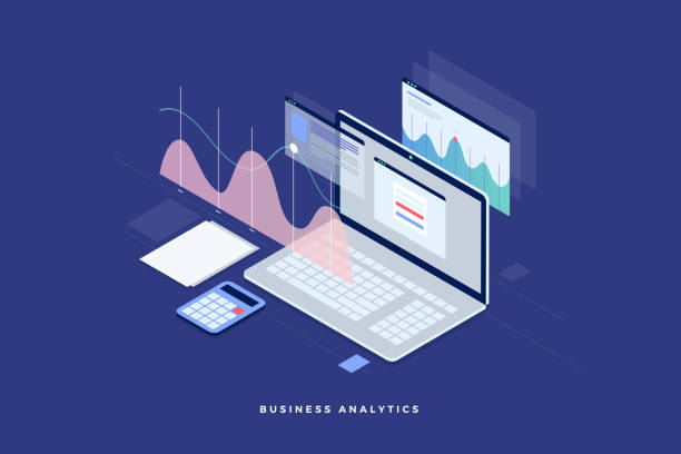 Concept business strategy. Analysis data and Investment. Business success. Financial review with laptop and infographic elements. 3d isometric flat design. Vector illustration. scrutiny stock illustrations