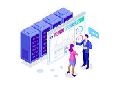 Concept business strategy. Illustration of data financial graphs or diagrams, information data statistic. Computer screen and infographics isometric vector illustration.
