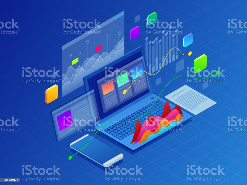 Concept business strategy. Illustration of data financial graphs or diagrams, information data statistic. Laptop and infographics isometric vector illustration on ultraviolet background royalty-free concept business strategy illustration of data financial graphs or diagrams information data statistic laptop and infographics isometric vector illustration on ultraviolet background stock illustration - download image now