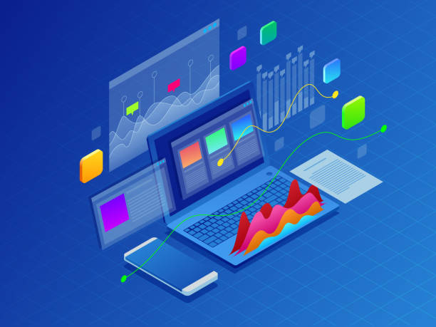 concept business strategy. illustration of data financial graphs or diagrams, information data statistic. laptop and infographics isometric vector illustration on ultraviolet background - сбор stock illustrations