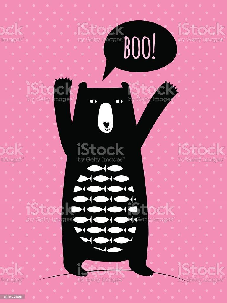 Concept card with cute bear vector art illustration