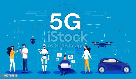 Cartoon infographic of a 5G wireless network using mobile wireless technology for faster connectivity with smartphones, robotics, computing, drones and vehicle, vector illustration.