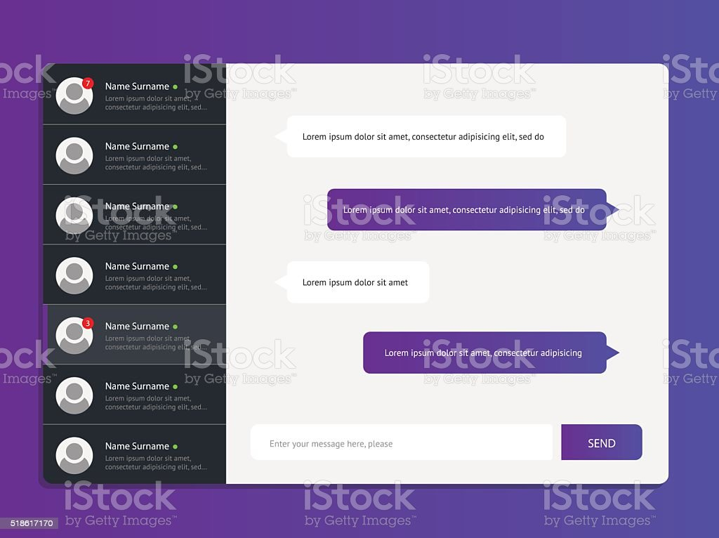 Concept chat messages vector art illustration