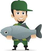 Concept cheerful fisherman caught big fish