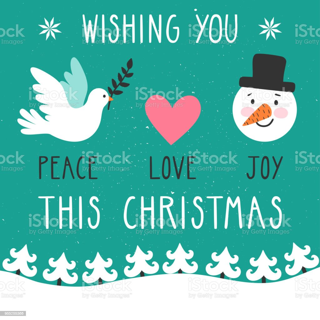 concept christmas background with text wishing you peace love joy