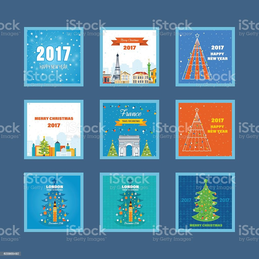 Collection of greeting cards for Christmas holiday and New Year, a...