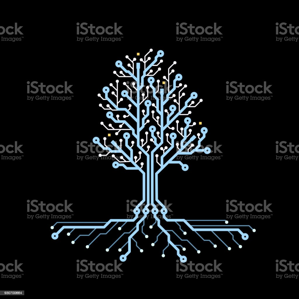 Concept Circuit Board Tree Futuristic Background With Tech Pcb Graphic Industrial Black Future Technology