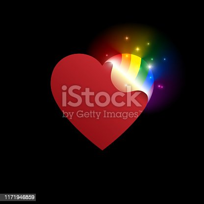 Concept coming out LGBT - opening heart glows with rainbow colors LGBTQ. Coming out icon - open rainbow heart. Symbol of transgender, lesbian, gay, bisexual. National day. Vector illustration