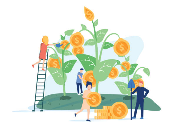concept company is engaged in the joint construction and cultivation of money cash profits for presentation, social media. - sustainability stock illustrations