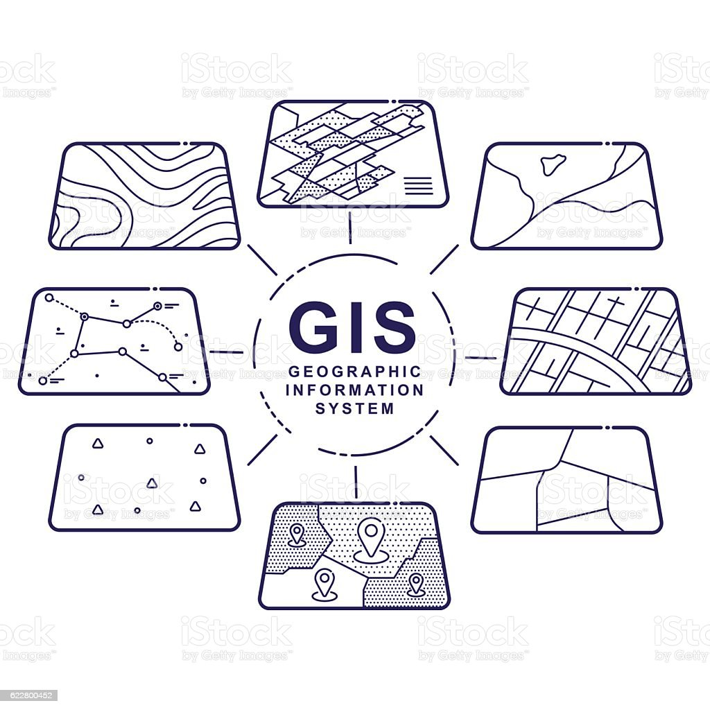 GIS Concept Data Layers for Infographic royalty-free gis concept data layers for infographic stock illustration - download image now