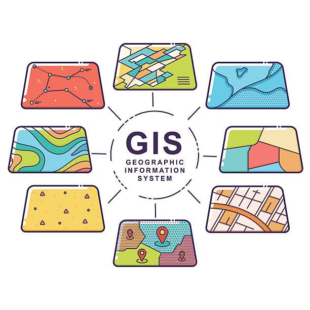 gis concept data layers for infographic - fiziki coğrafya stock illustrations