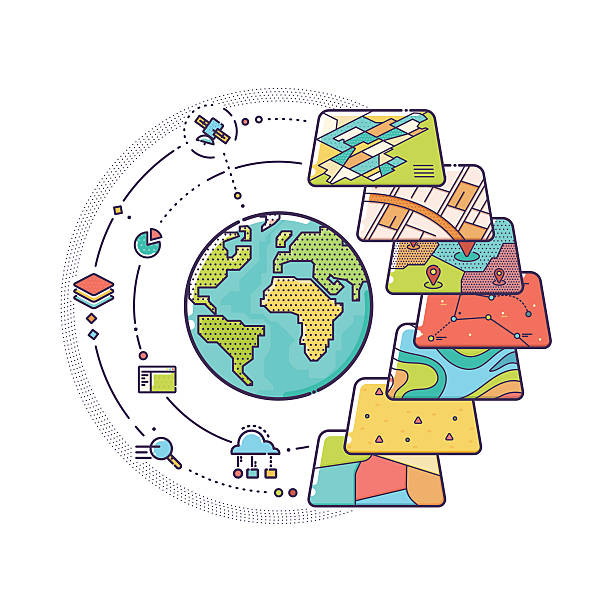 stockillustraties, clipart, cartoons en iconen met gis concept data layers for infographic - fysische geografie