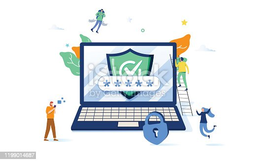 Concept data protection, internet security for web page, banner, presentation, social media, documents, cards, posters. Vector illustration Online security, secure internet browsing. VPN protection