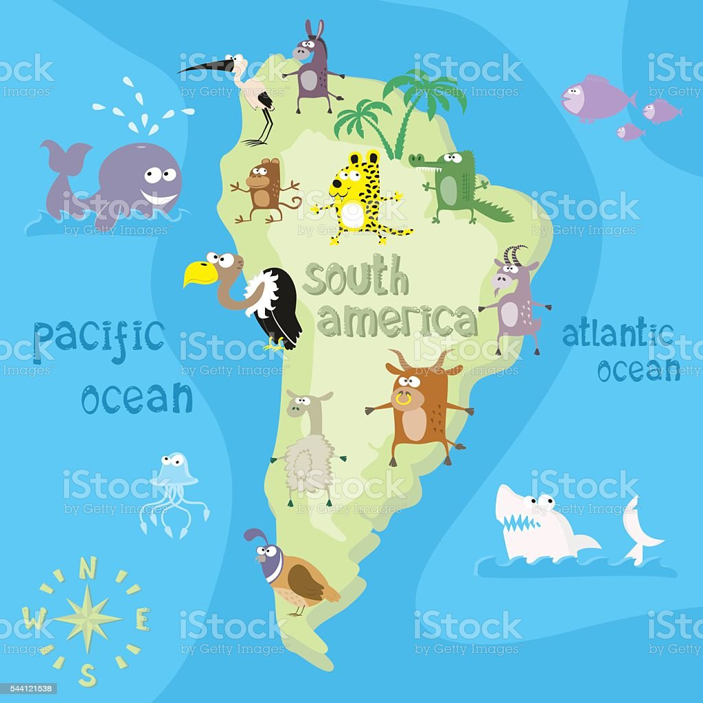 Concept Design Map Of South American Continent With Animals Stock ...